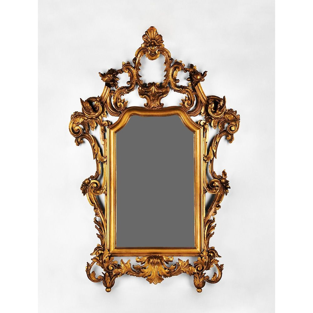 Early 19th Century Hand Carved Italian Giltwood Rococo Mirror From In Rococo Mirror (Image 6 of 15)