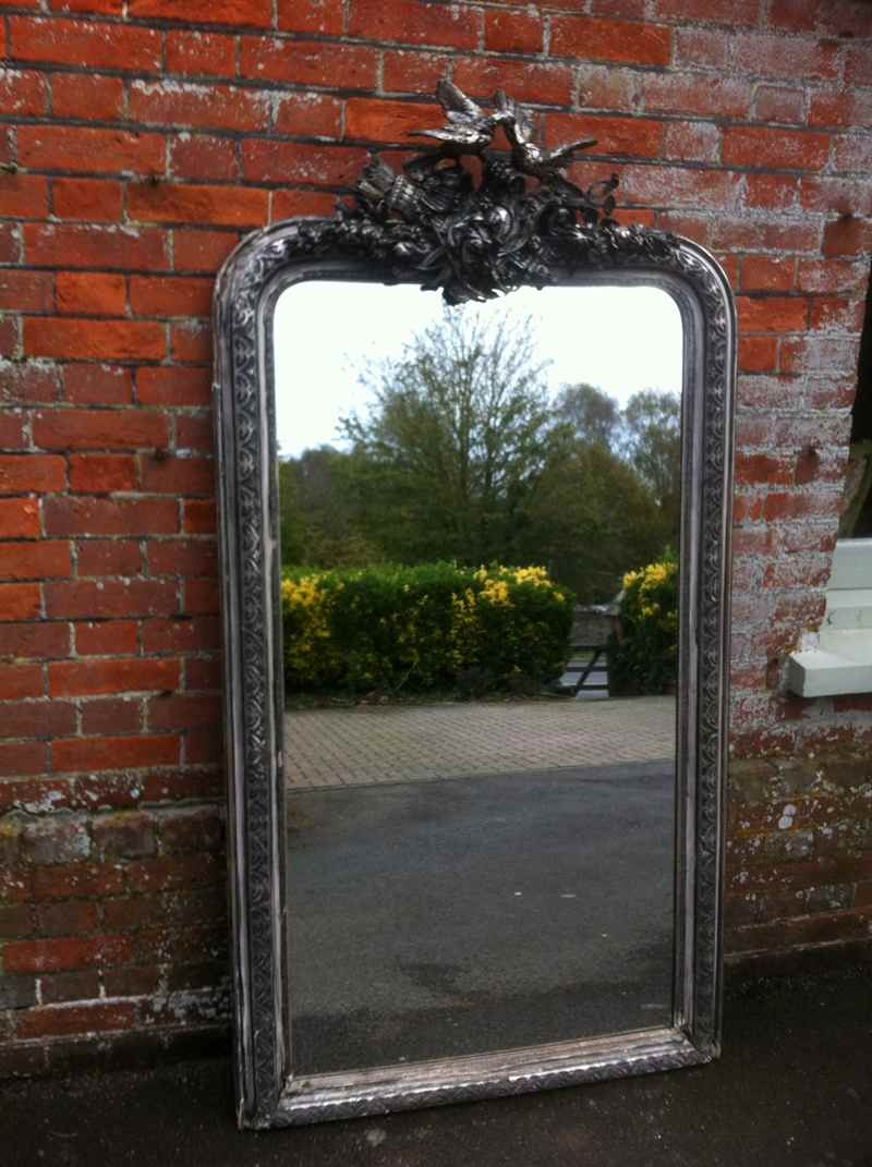 Early 19th Century Large French Silvered Ornate Mirror Antique Regarding Large French Mirrors (View 5 of 15)