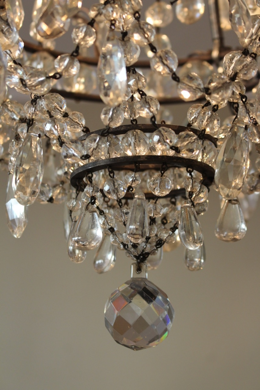 Early 20th Century French Cut Glass Chandelier Ceiling Lighting With Regard To French Glass Chandelier (Image 7 of 15)