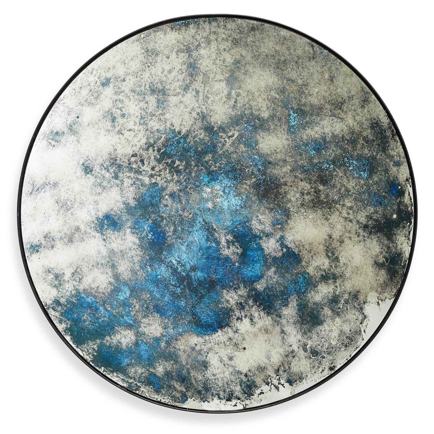 Echo Distressed Mirror Ocean Blue Inside Blue Distressed Mirror (Image 7 of 15)