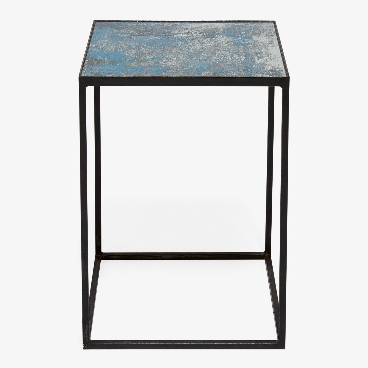 Echo Distressed Mirror Side Table Ocean Blue Regarding Blue Distressed Mirror (View 13 of 15)