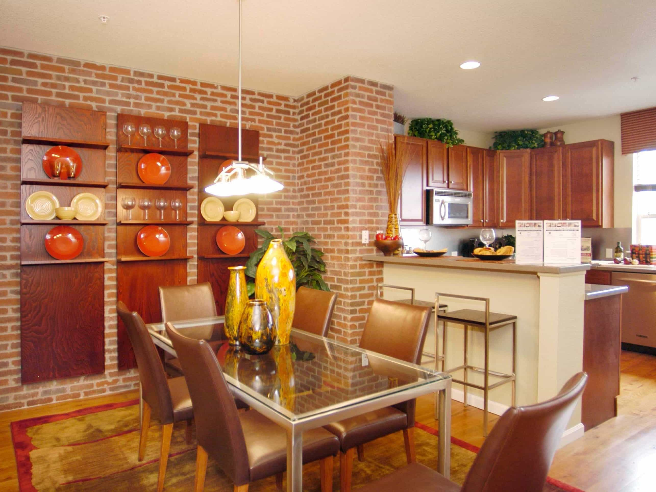 Eclectic Dining Room With Brick Accent Wall (Image 11 of 30)