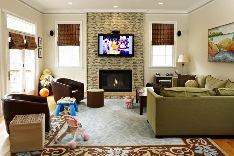 Featured Image of Eclectic Living Room With Ceramic Fireplace Wall Tiles
