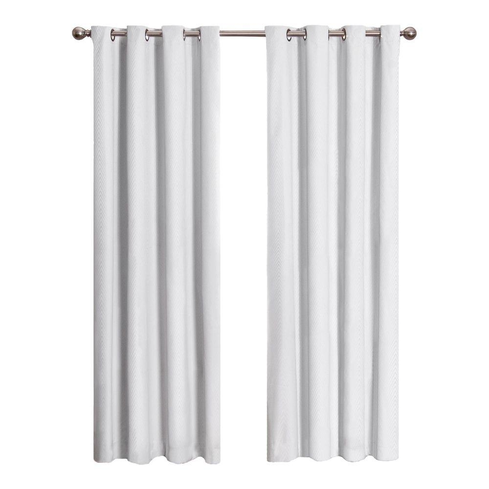 Eclipse Cassidy Blackout White Polyester Grommet Curtain Panel 84 With White Opaque Curtains (Image 6 of 15)