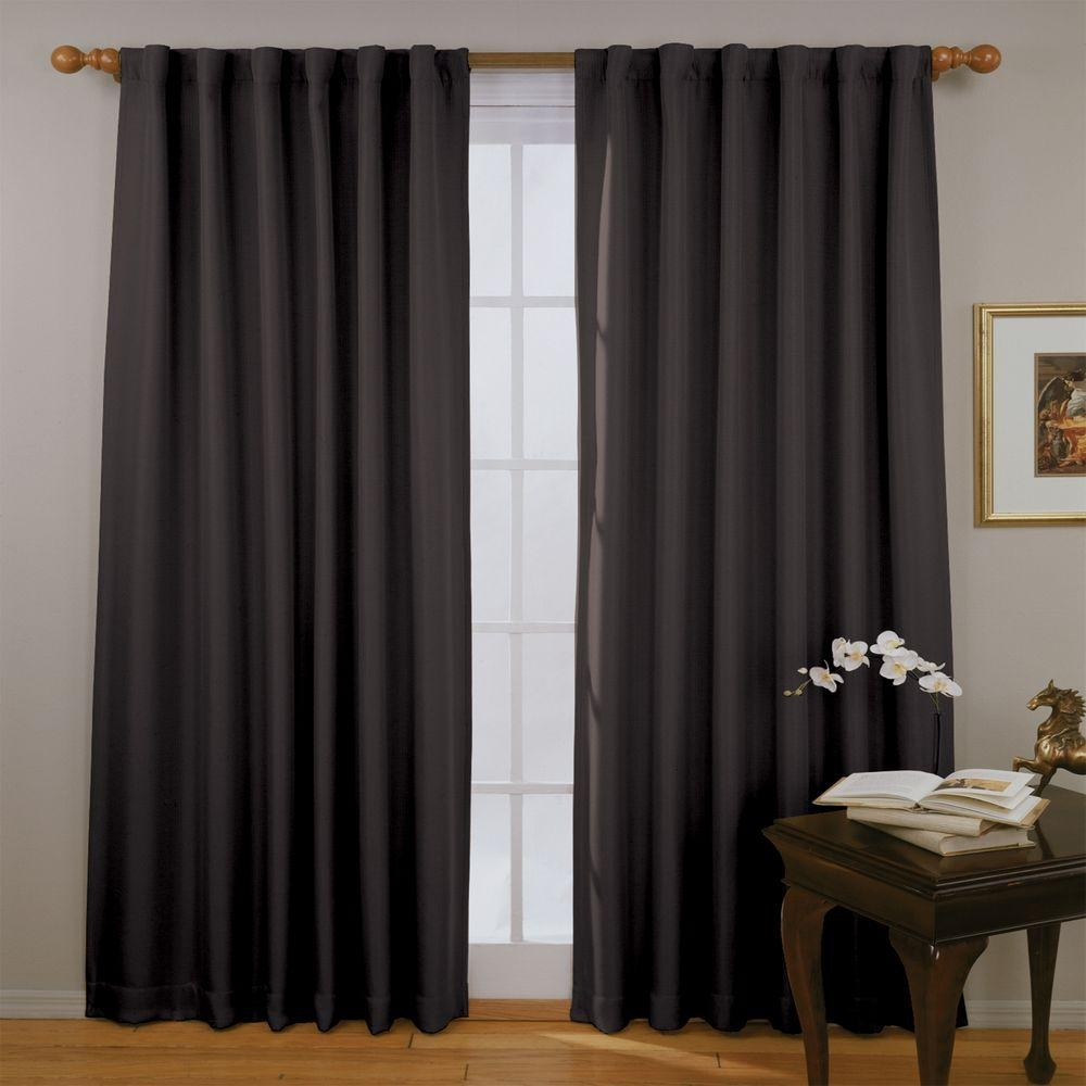 Eclipse Fresno Blackout Black Polyester Curtain Panel 84 In Throughout Noise And Light Blocking Curtains (Image 8 of 15)