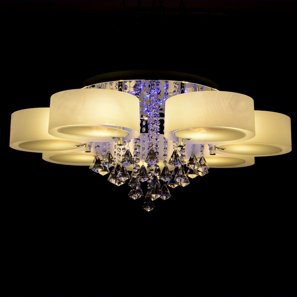 Ecolight Rgb Modern Chandelier Crystal With Remote Control 7 Inside Remote Controlled Chandelier (Image 4 of 15)