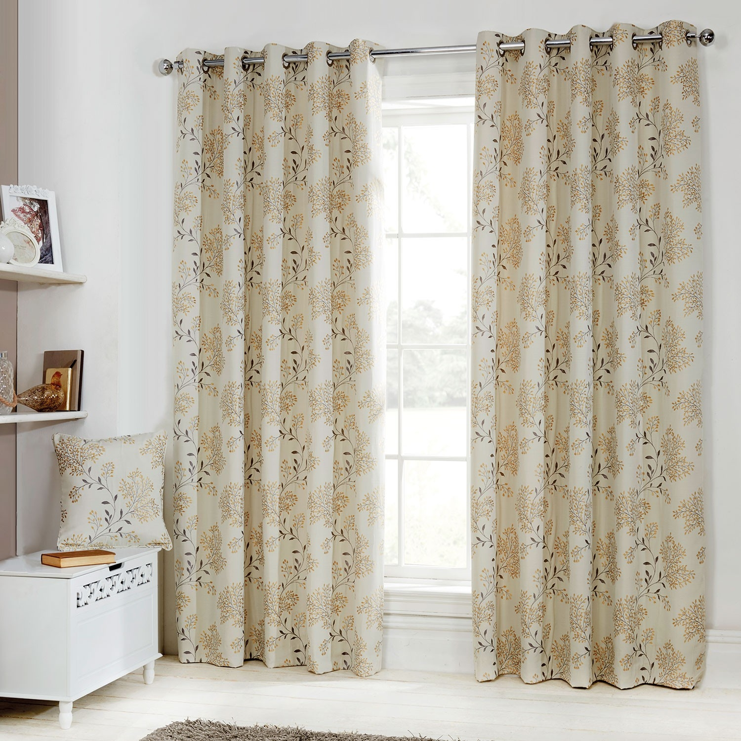 Eden Gold Floral Jacquard Luxury Eyelet Curtains Pair Julian In Cream And Gold Eyelet Curtains (Image 10 of 15)