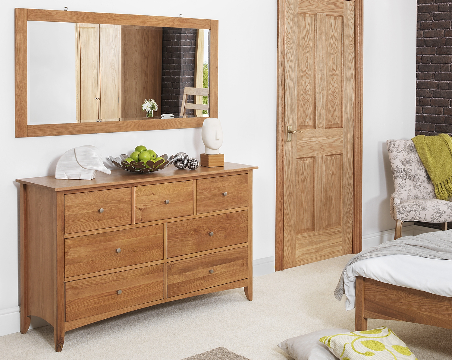 Edward Hopper Oak Furniture Bedside Table Chest Of Drawers With Regard To Oak Wall Mirrors (Image 3 of 15)