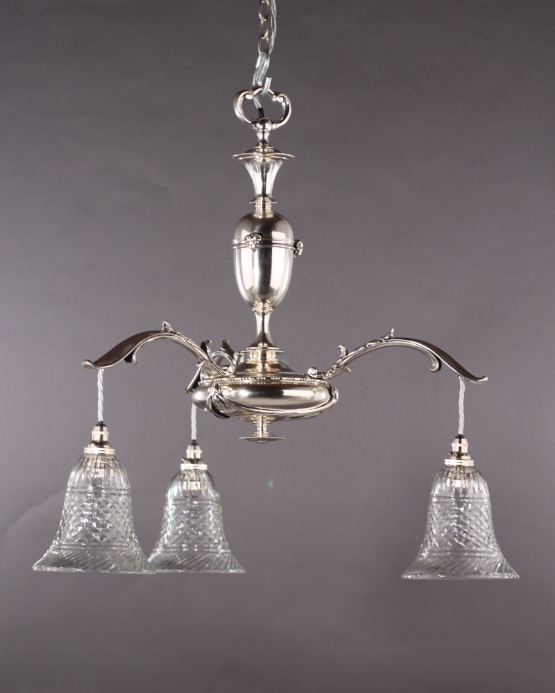 Edwardian Silver Plated Electrolier Faraday And Son With With Edwardian Chandelier (Image 11 of 15)