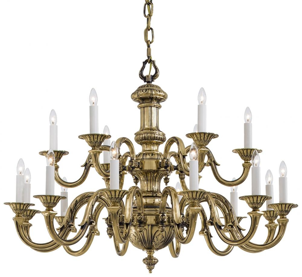 Eighteen Light Chandelier In Traditional Solid Cast Brass Pertaining To Traditional Brass Chandeliers (Image 8 of 15)