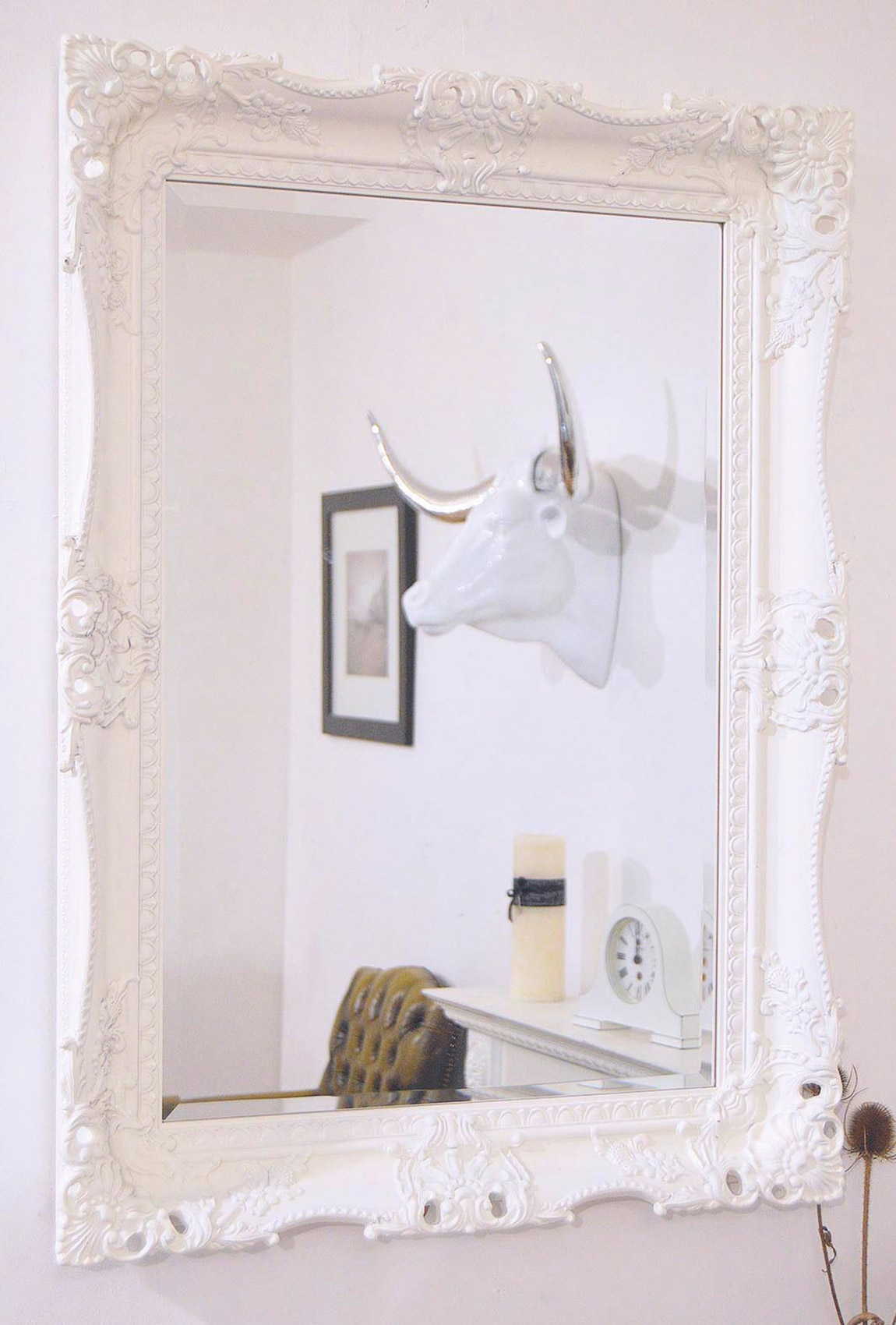 Elaborate White Carved Ornate Swept Frame Mirror 95cm X 80cm Regarding Large White Ornate Mirror (Image 5 of 15)
