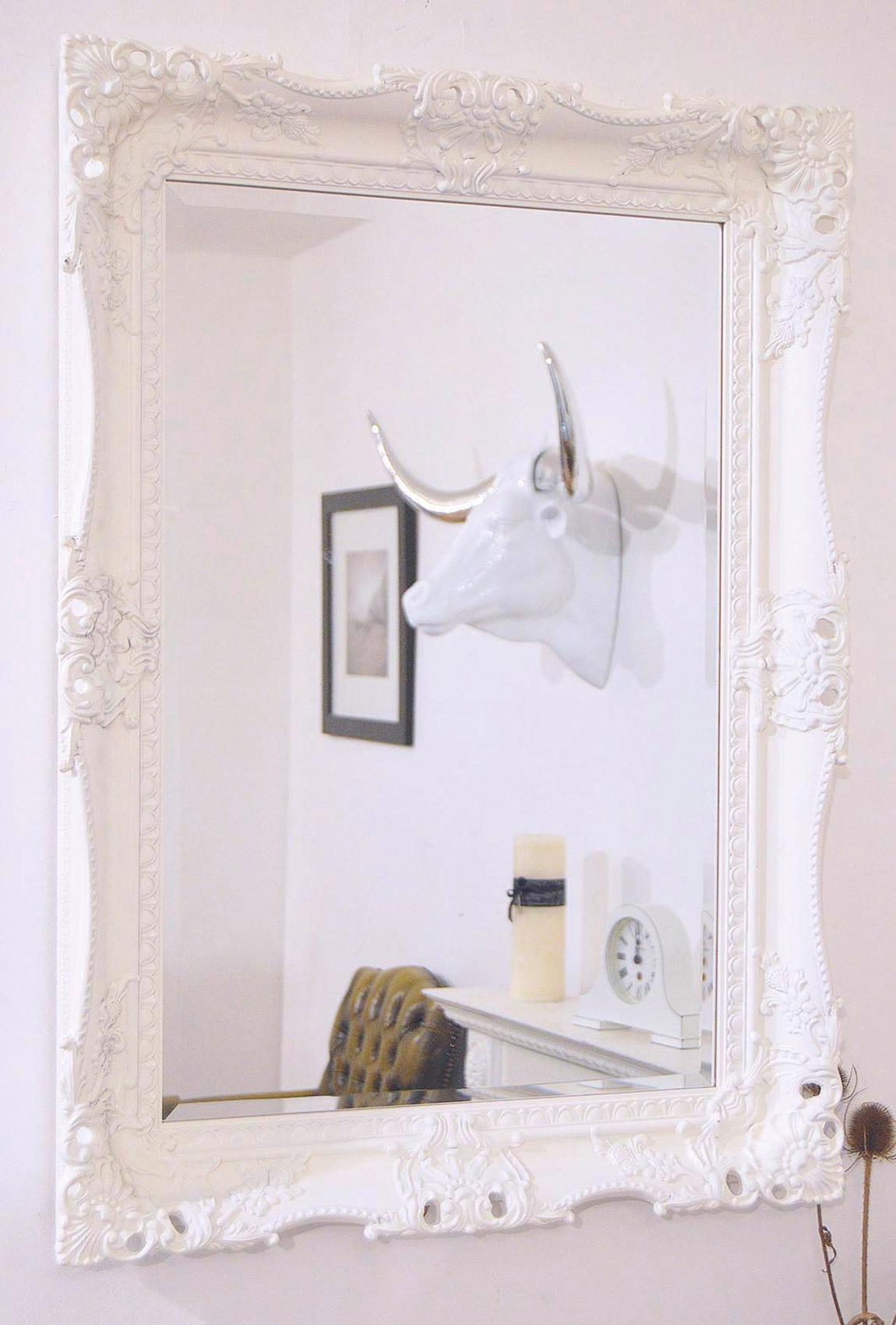 Elaborate White Carved Ornate Swept Frame Mirror 95cm X 80cm Regarding Large White Ornate Mirror (View 15 of 15)