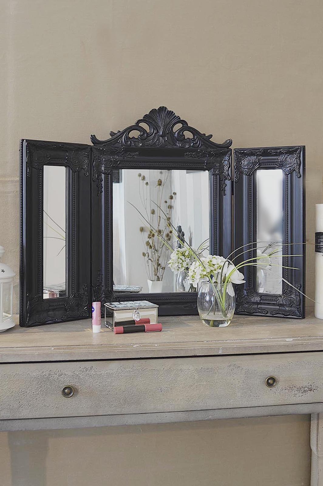 Elegant Black Antique Style Design Free Standing Dressing Table Intended For Standing Dressing Mirror (View 14 of 15)