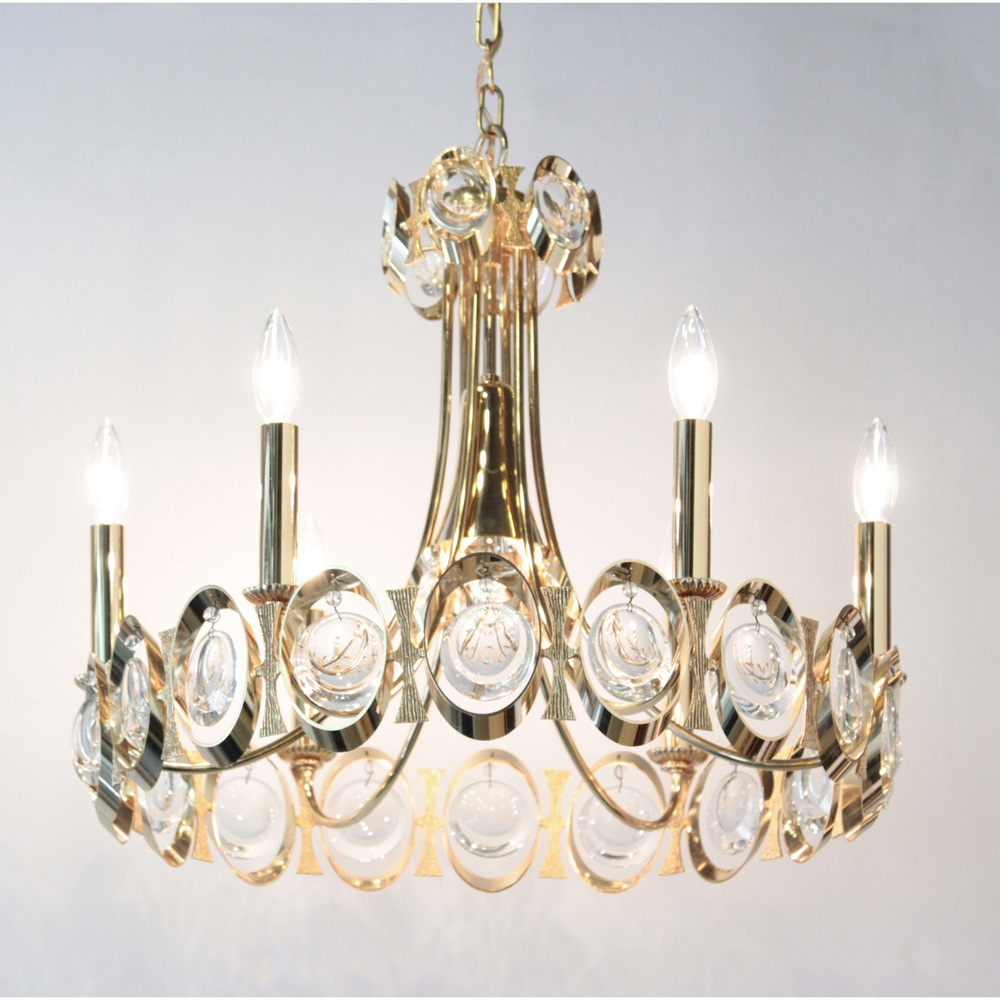Elegant Brass And Crystal Chandelier Palwa Lobel Modern Nyc With Brass And Crystal Chandelier (Image 12 of 15)