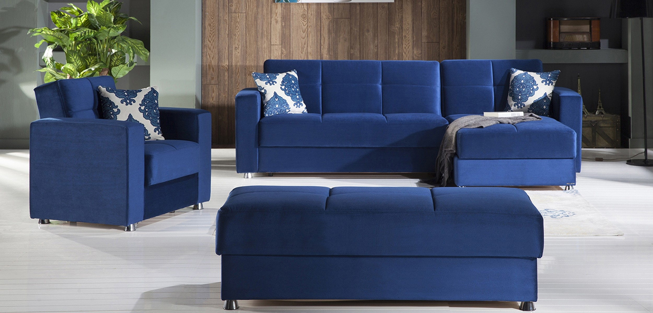 Elegant Convertible Sectional Sofa Set In Blue Istikbal Furniture With Regard To Convertible Sectional Sofas (Image 4 of 15)