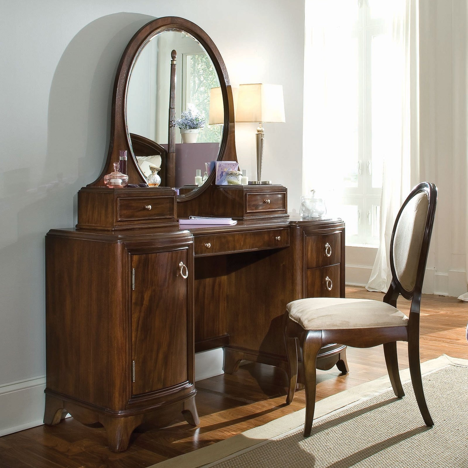 Elegant Dark Brown Wooden Antique Vanity Table Design With Chair With Antique Dressing Mirror Full Length (Image 14 of 15)