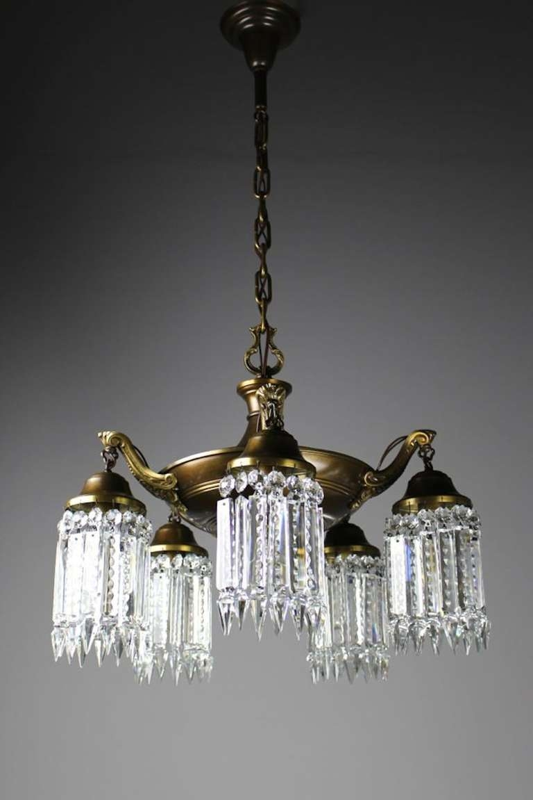 Elegant Edwardian Crystal Chandelier For Sale At 1stdibs Inside Edwardian Chandeliers (Image 8 of 15)