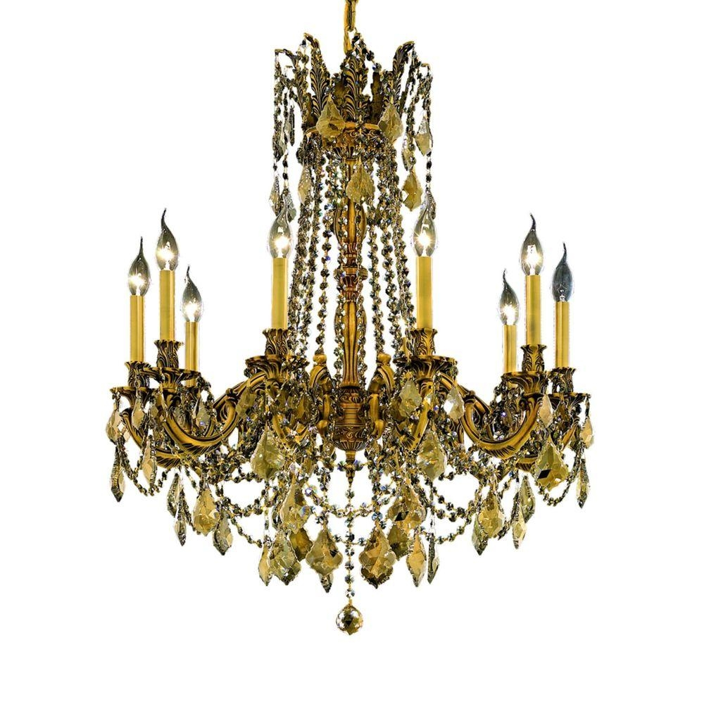 Elegant Lighting 10 Light French Gold Chandelier With Teak Smoky Pertaining To French Gold Chandelier (Image 1 of 14)