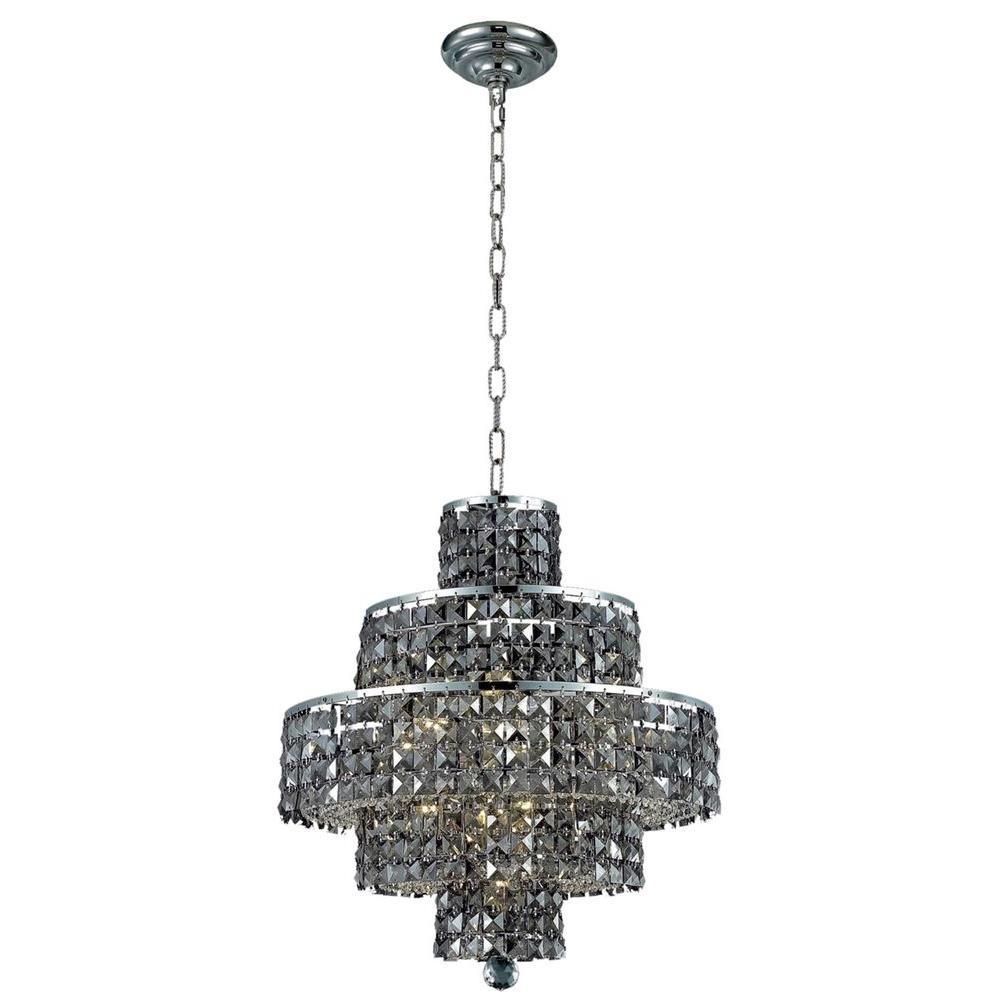 Elegant Lighting 13 Light Chrome Chandelier With Silver Shade Grey Intended For Grey Crystal Chandelier (Image 6 of 15)
