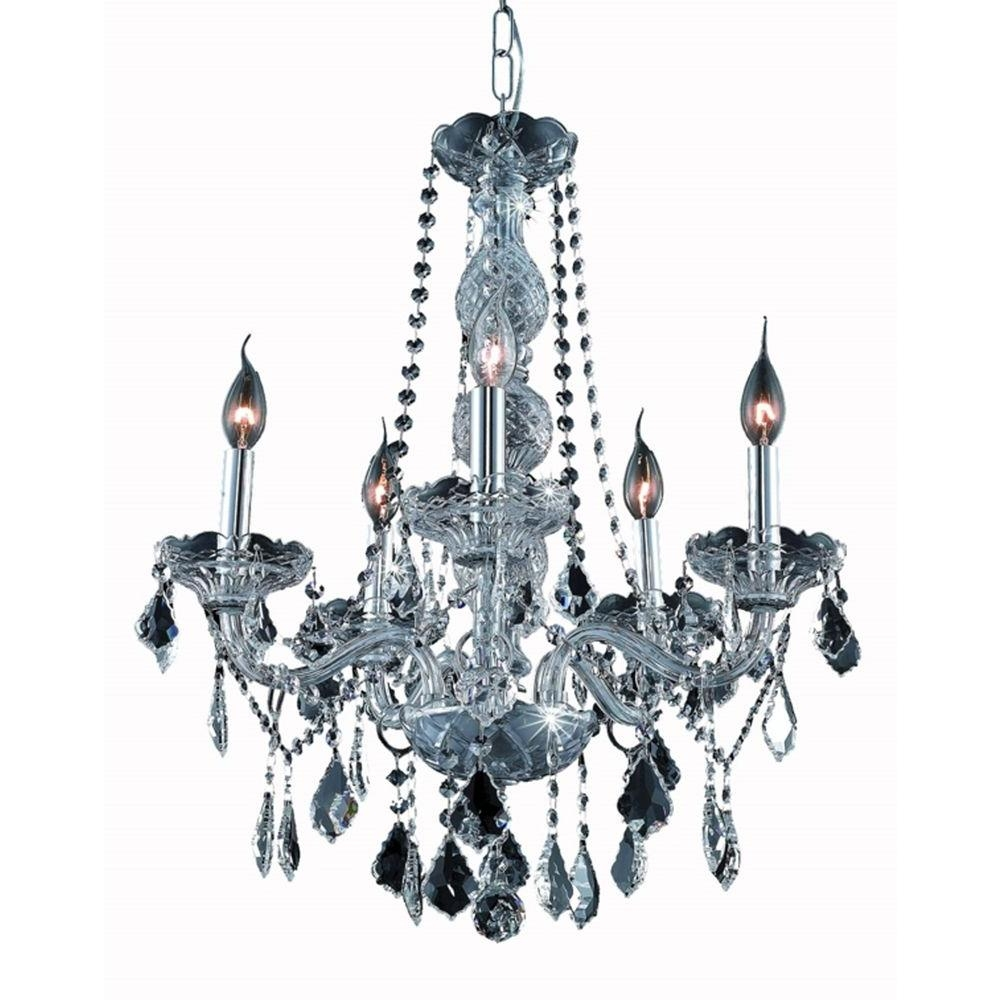 Elegant Lighting 5 Light Silver Chandelier With Grey Crystal With Regard To Grey Crystal Chandelier (Image 7 of 15)