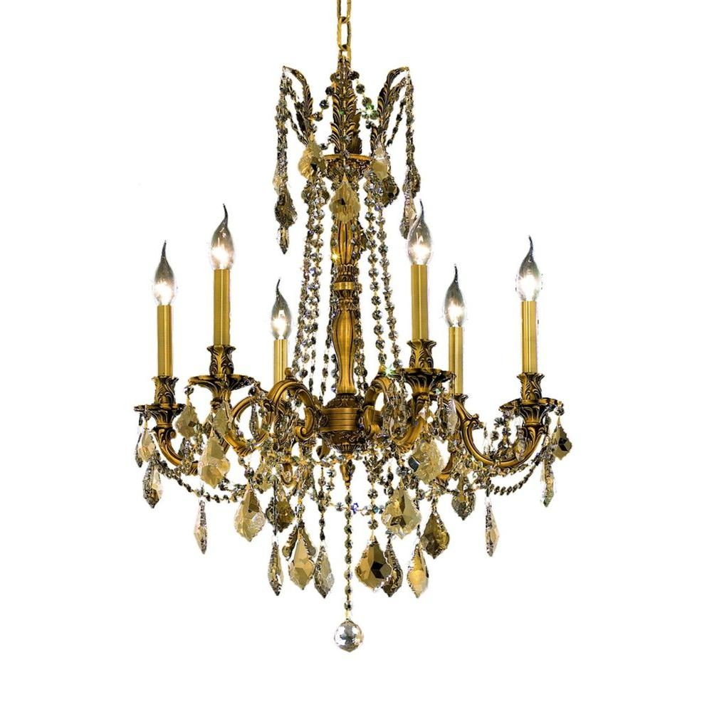 Elegant Lighting 6 Light French Gold Chandelier With Clear Crystal Throughout French Gold Chandelier (Image 3 of 14)