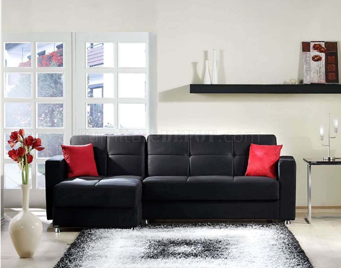 Elegant Rainbow Storage Sectional Sofa In Black Sunset Throughout Elegant Sectional Sofas (Image 5 of 15)