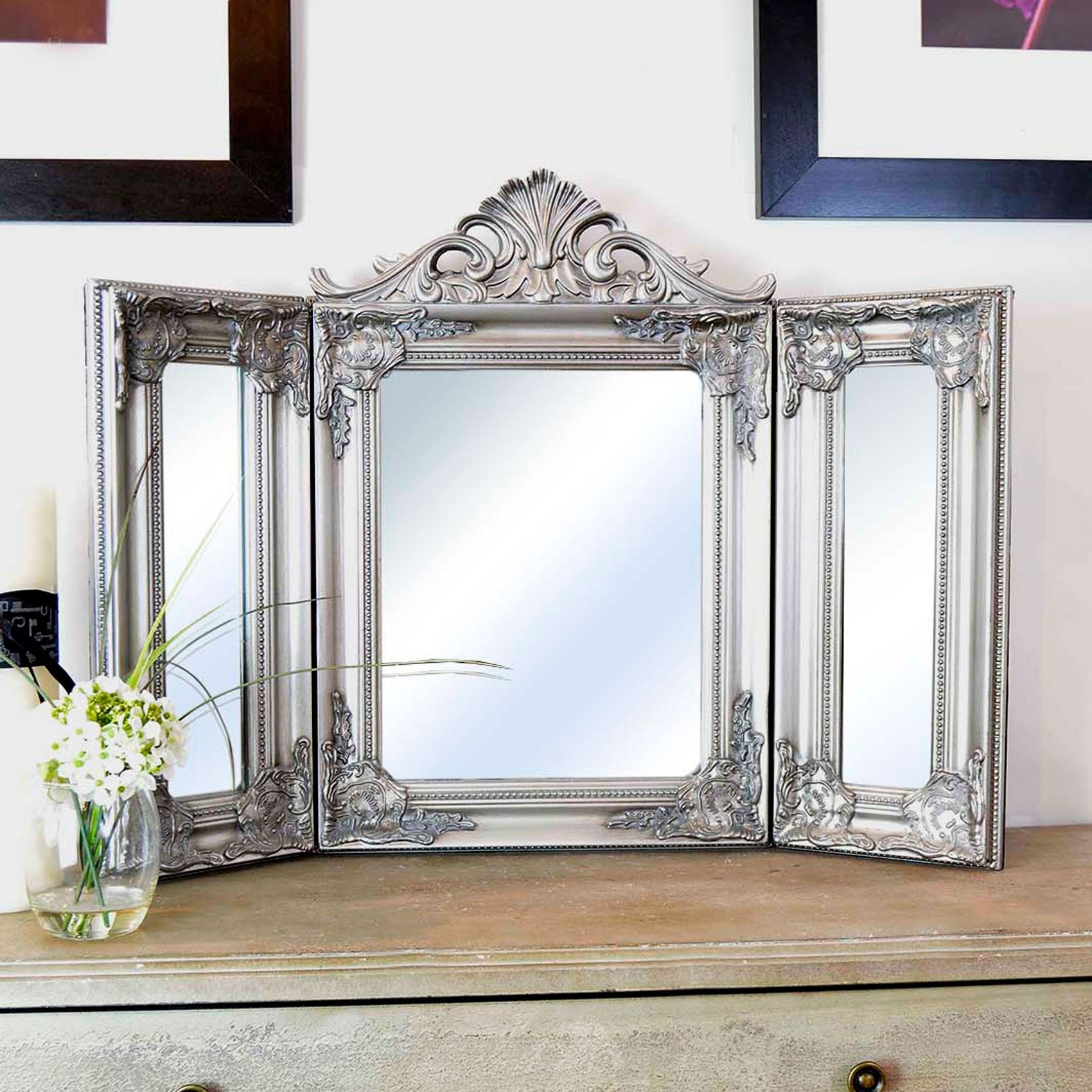 Elegant Silver Antique Free Standing Dressing Table Mirror Pertaining To Silver Dressing Table Mirror (Image 5 of 15)