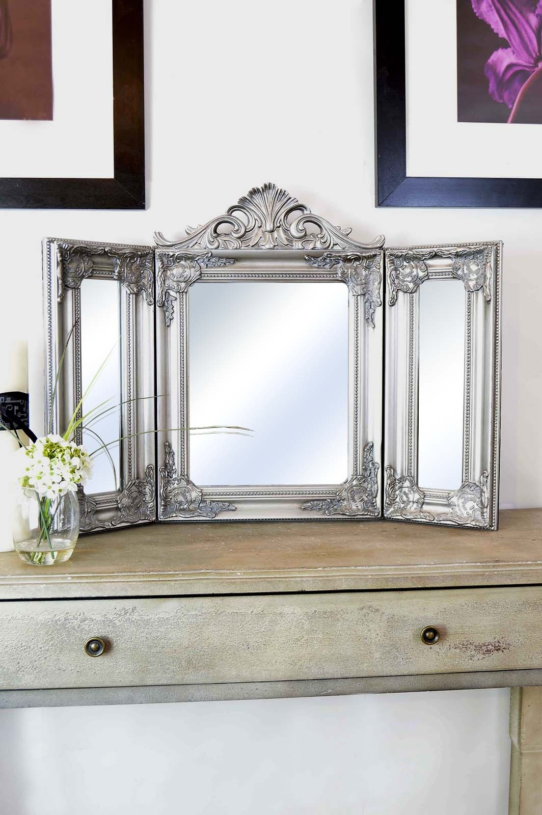 Elegant Silver Antique Style Design Free Standing Dressing Table With Regard To Free Standing Dressing Table Mirrors (Image 8 of 15)