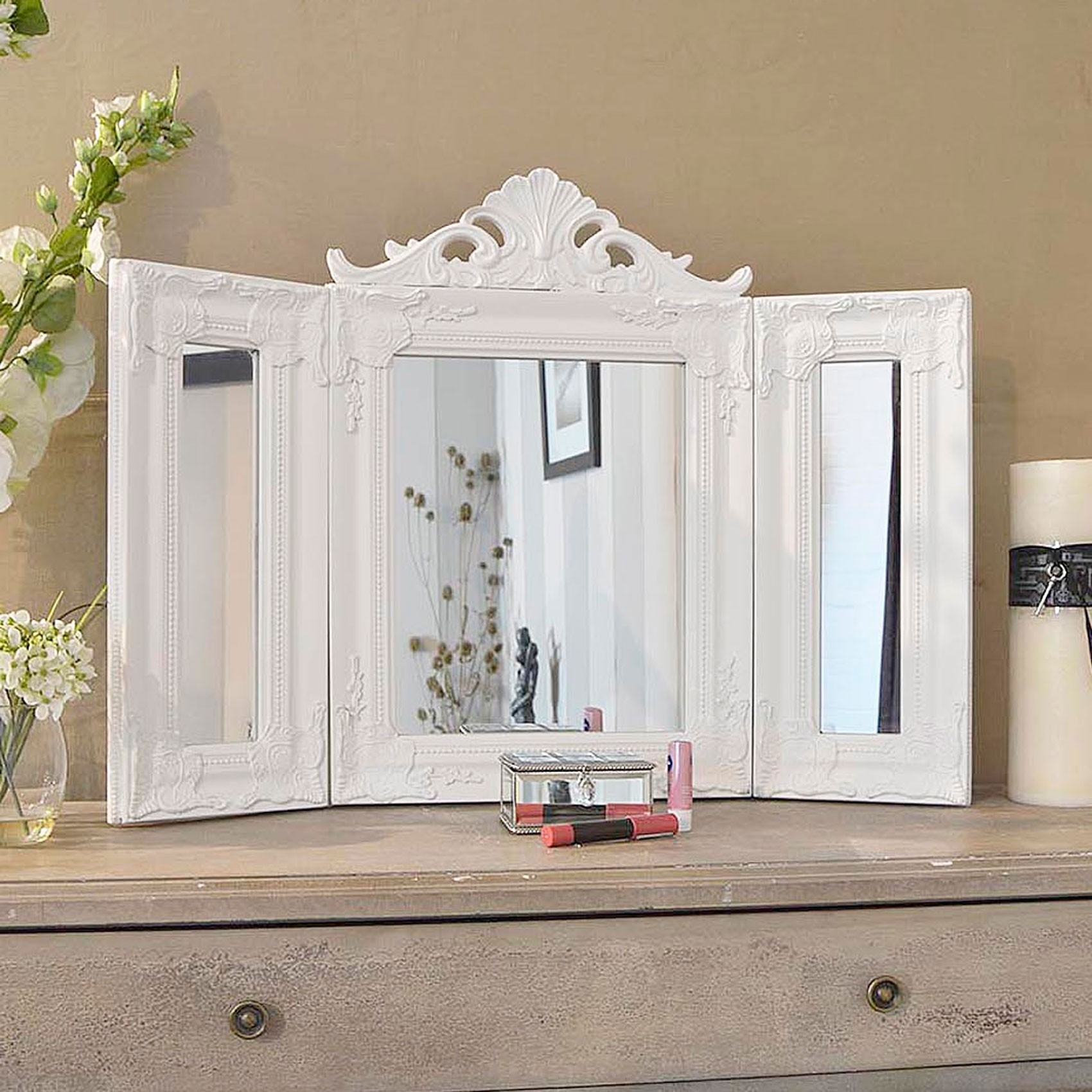 Elegant White Antique Free Standing Dressing Table Mirror For Free Standing Dressing Table Mirrors (Image 9 of 15)
