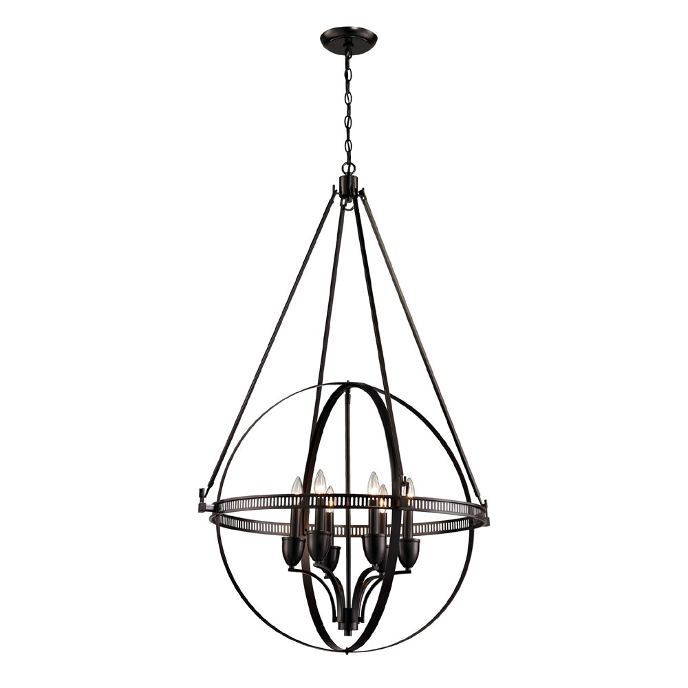 Elk 10393 6 Hemispheres Contemporary Oil Rubbed Bronze Chandelier For Bronze Modern Chandelier (Image 5 of 15)
