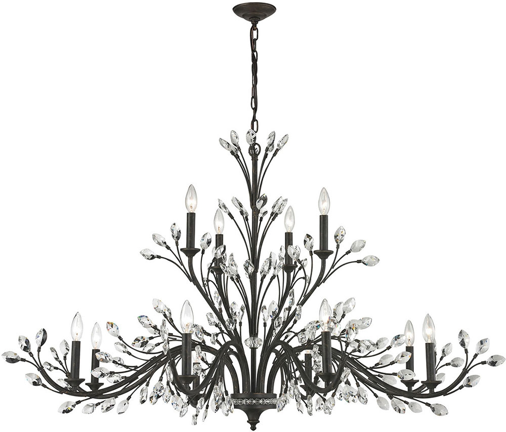Elk 11777 8 4 Crystal Branches Burnt Bronze Chandelier Lamp Elk Pertaining To Crystal Branch Chandelier (Image 6 of 15)