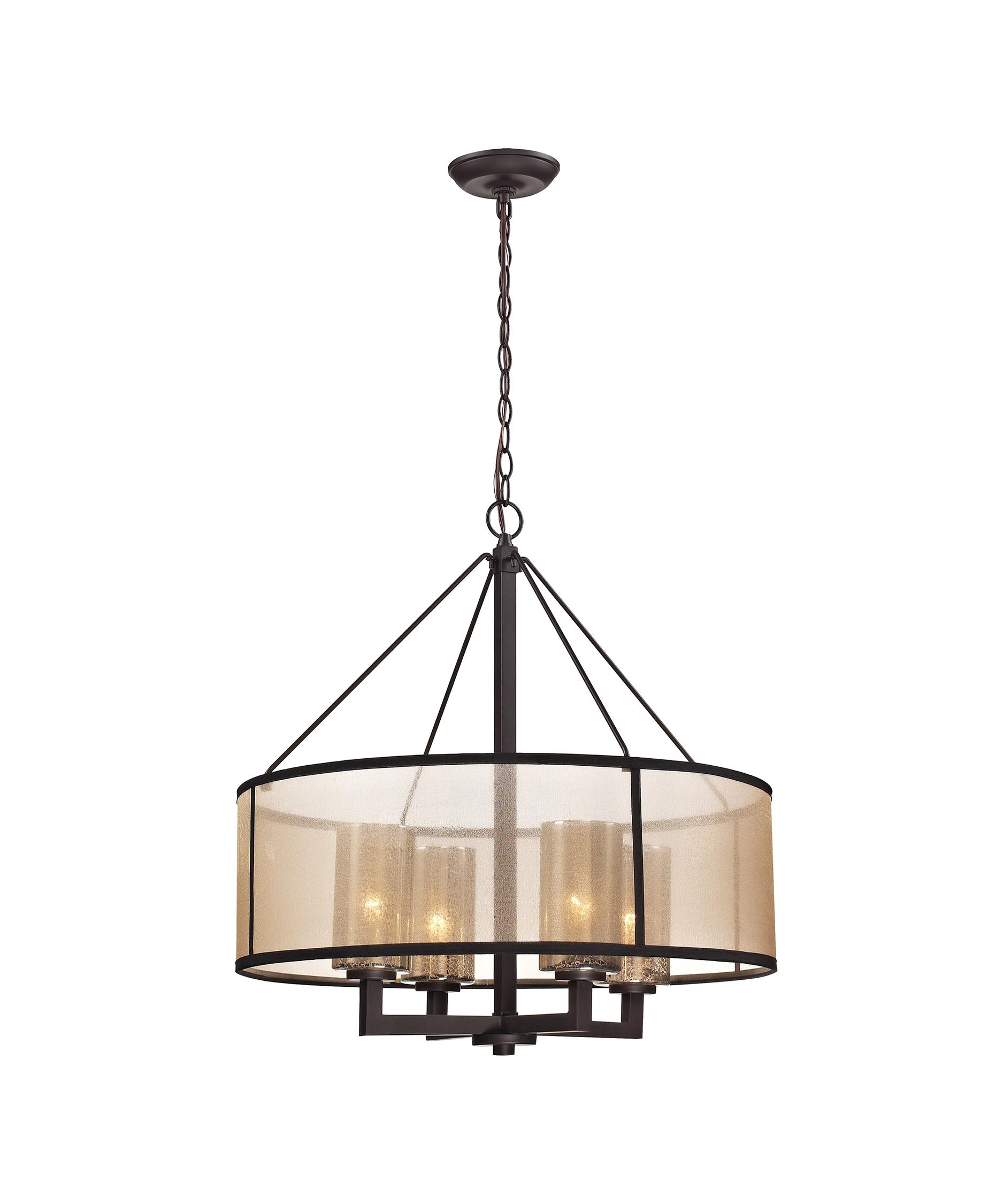 Elk Lighting 57027 4 Diffusion 24 Inch Wide 4 Light Chandelier With Regard To Bronze Modern Chandelier (Image 7 of 15)