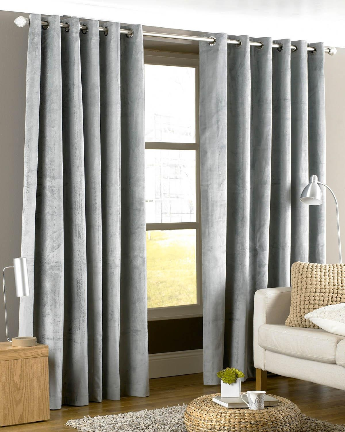 Emperor Eyelet Lined Curtains Silver Free Uk Delivery Terrys For Heavy Lined Curtains (Image 3 of 15)