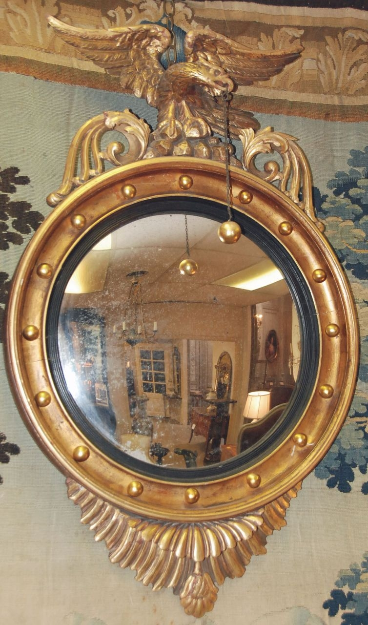 English Regency Eagle Convex Mirror From Antiquing With Pamela On Throughout Antique Convex Mirrors For Sale (Image 9 of 15)