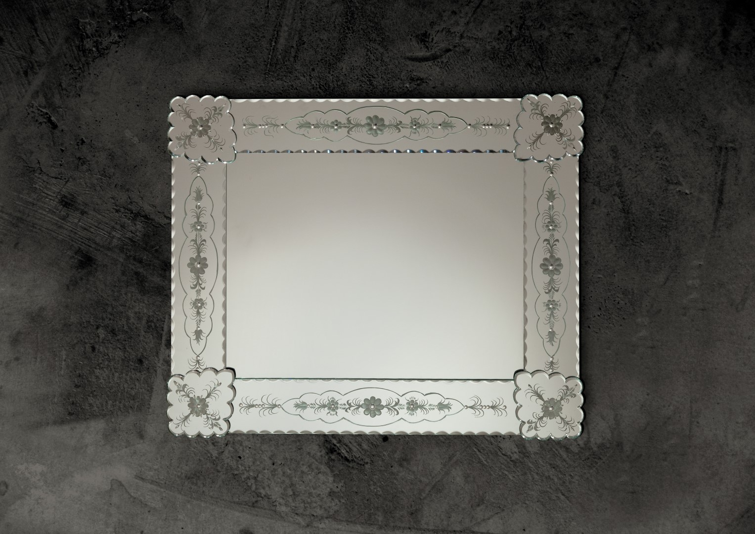 Eolica Venetian Mirror Engraved Flowers With Regard To Square Venetian Mirror (Image 7 of 15)