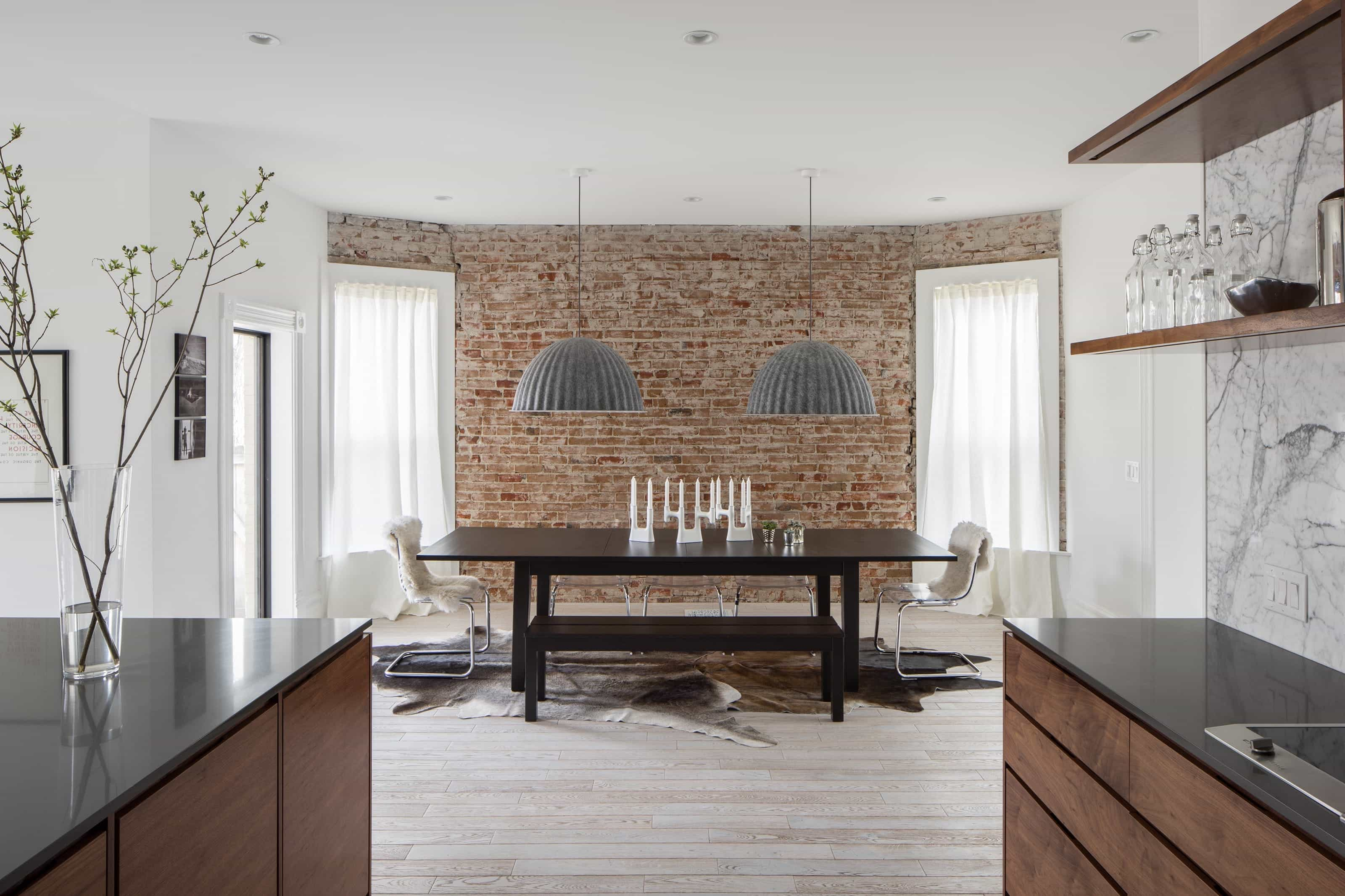 Neutral Contemporary Dining Room With Brick Wall (Image 21 of 30)