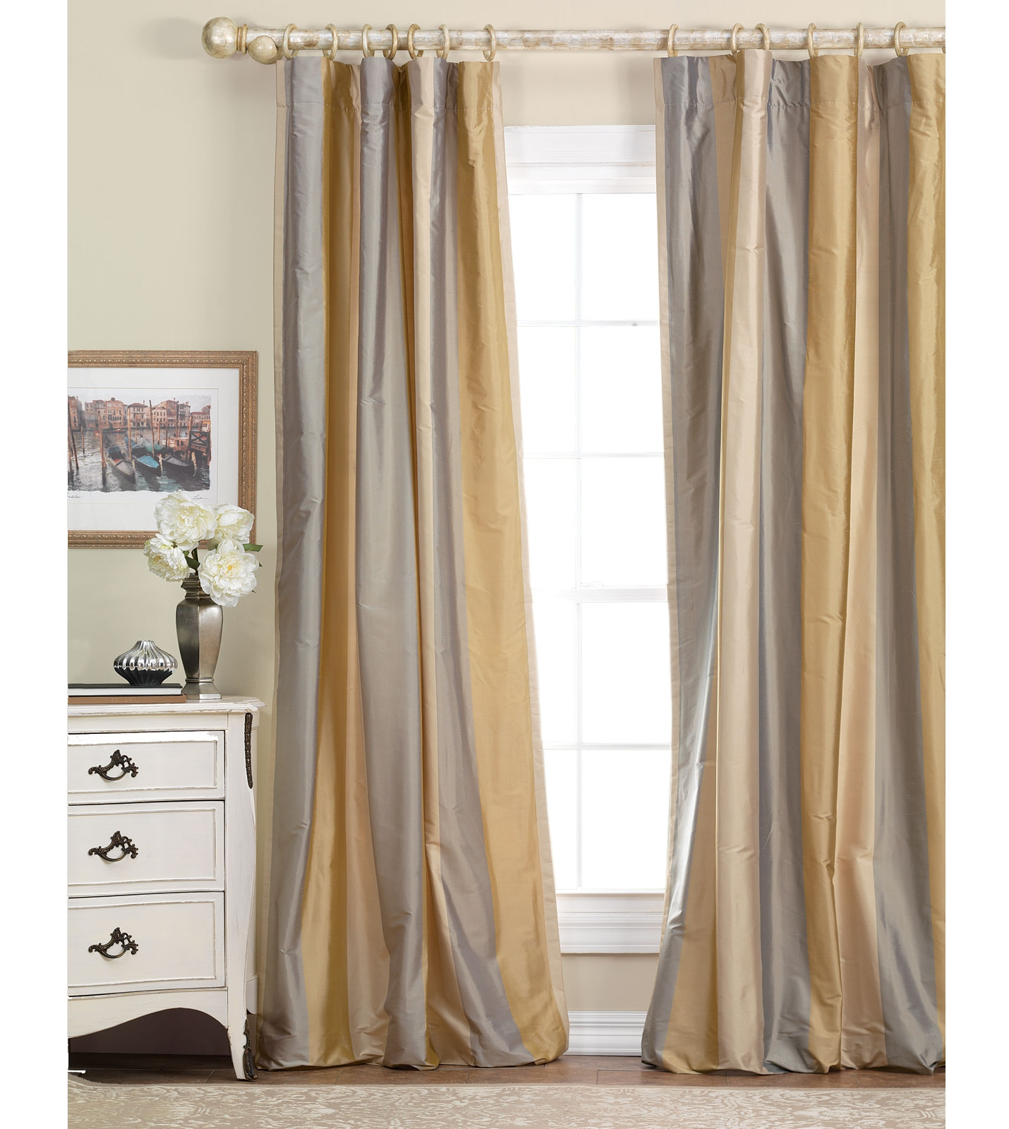 Exclusive Fabrics Dusty Pink Faux Silk 108 Inch Curtain Panel With Regard To Silky Curtains (Image 7 of 15)