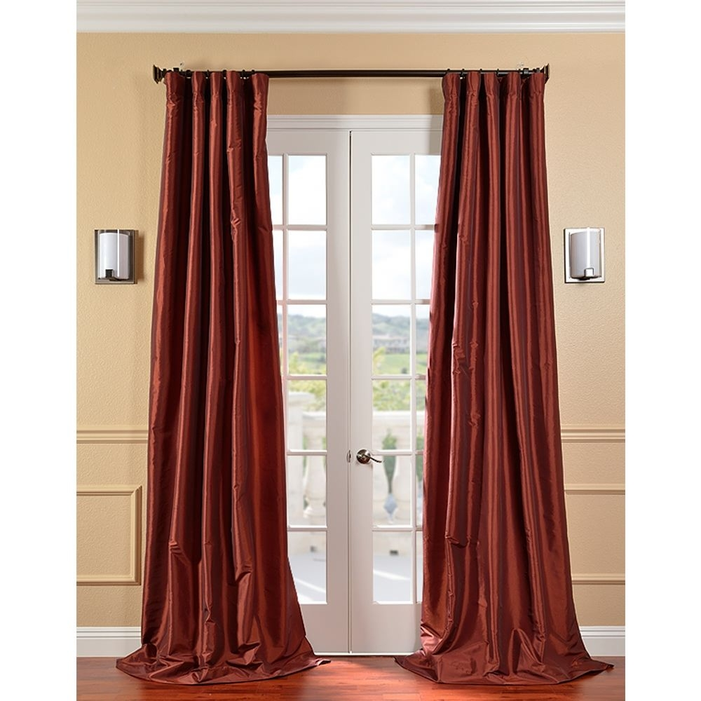 Exclusive Fabrics Paprika Faux Silk Taffeta Curtain Panel 96 Inch For Orange Silk Curtains (Image 3 of 15)