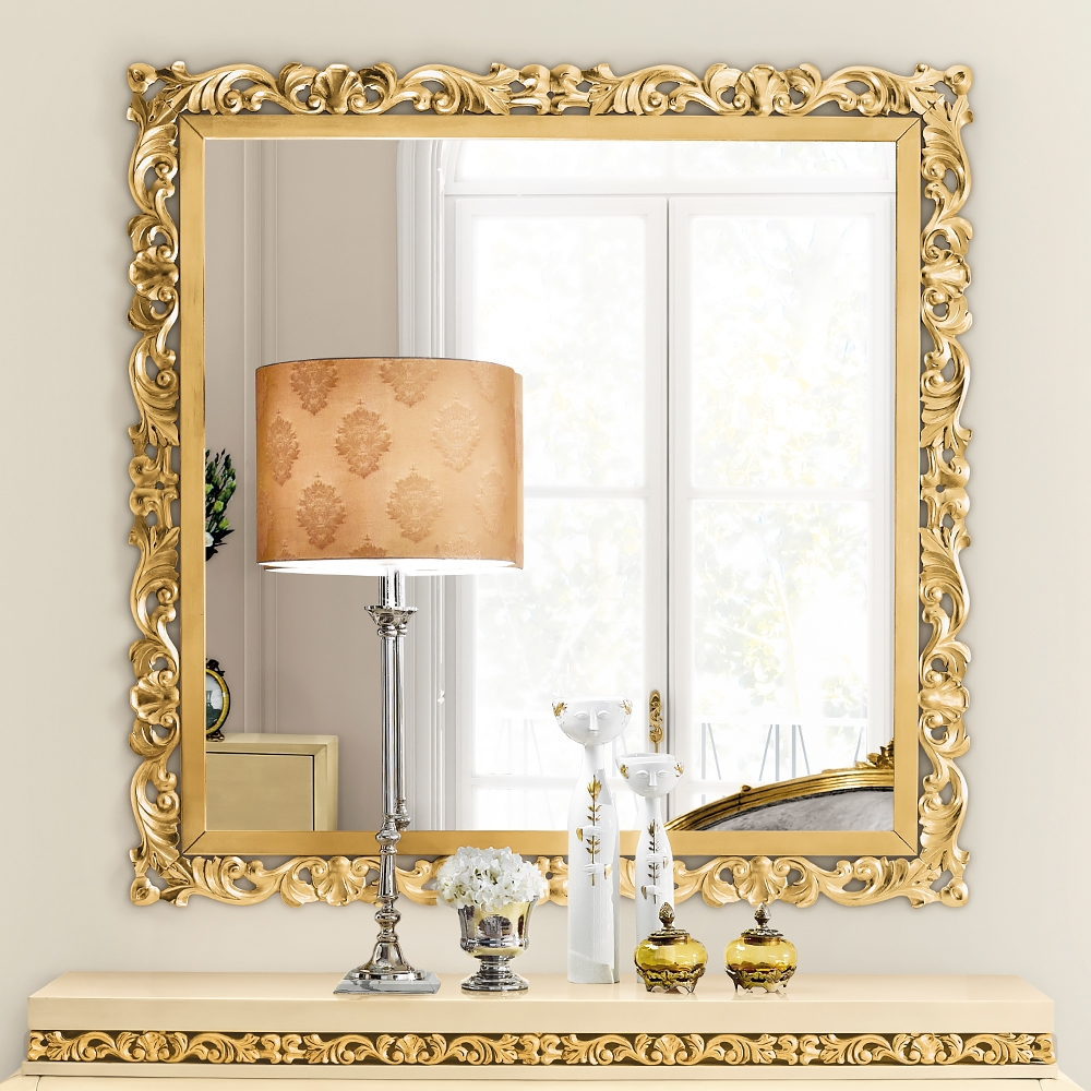 Exclusive Large Square Designer Gold Leaf Mirror Juliettes Pertaining To Elaborate Mirrors (Image 11 of 15)