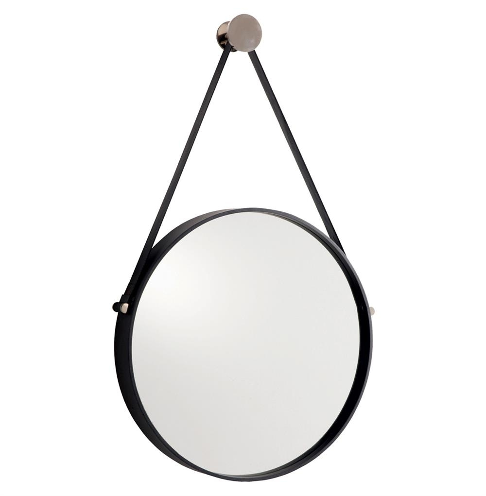 Expedition Iron Round Mirror With Leather Strap Kathy Kuo Home In Round Mirror Leather (Image 3 of 15)