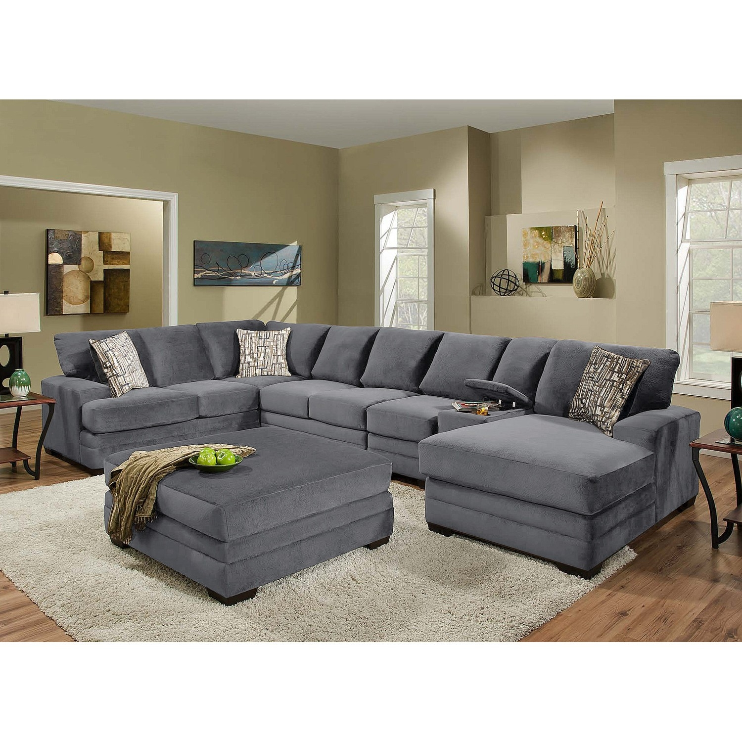 Exquisite Grey Sectional Sofas Sofas Sectionals Modern Grey With Down Filled Sectional Sofas (Image 4 of 15)