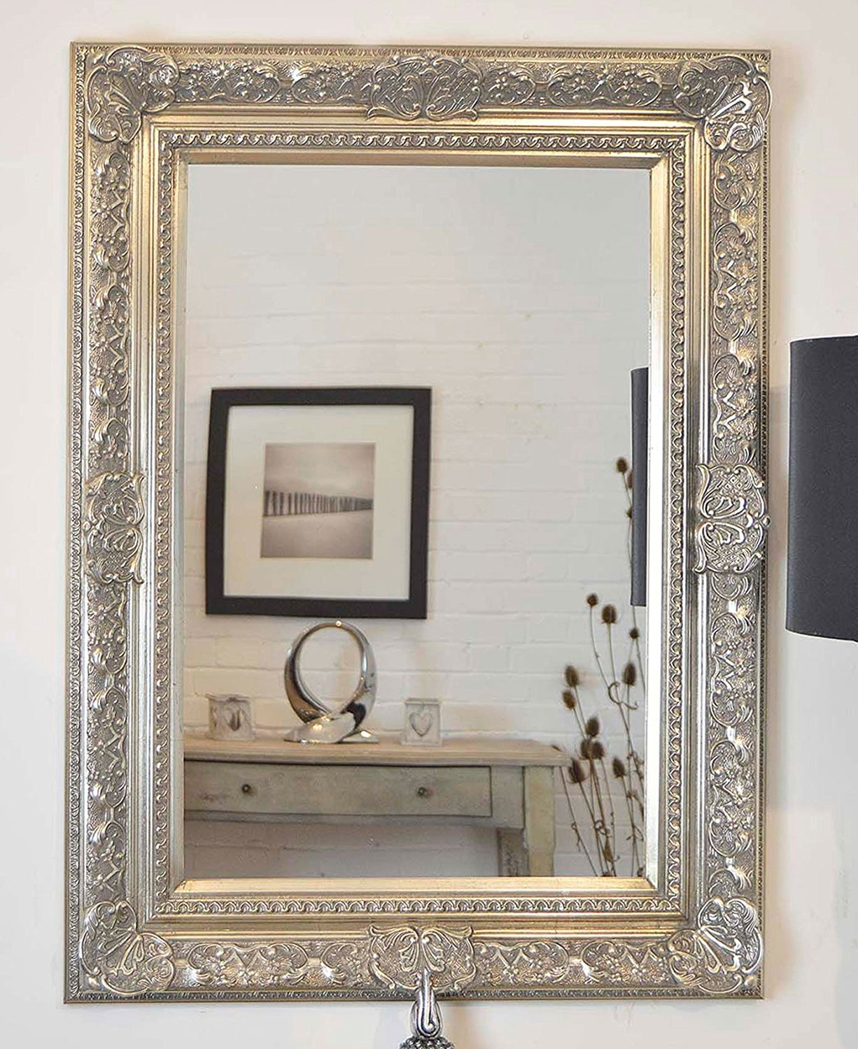 Extra Large Antique Silver Ornate Embossed Shab Chic Framed With Silver Bevelled Mirror (View 8 of 15)