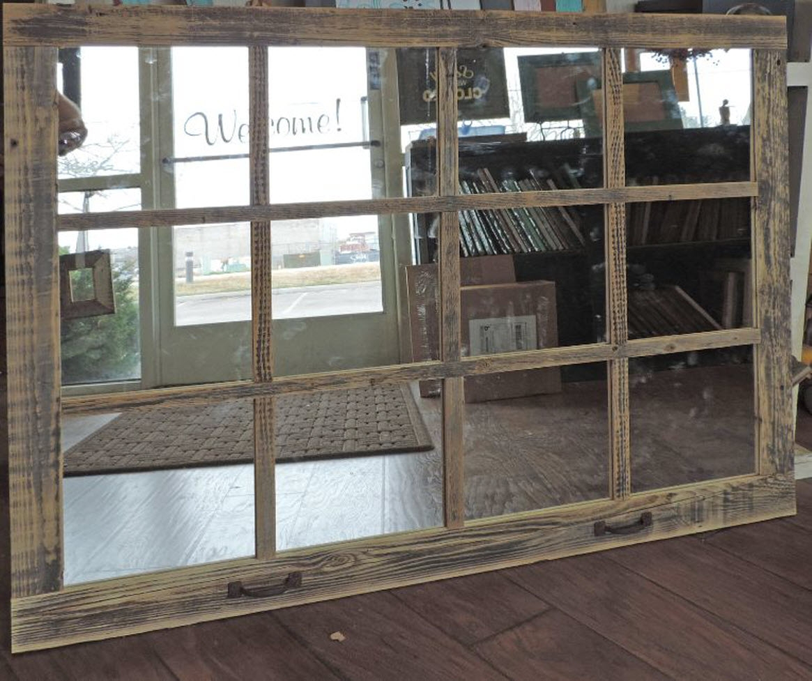 Extra Large Barn Wood Window Mirror Hot Seller Premier Barn Wood Inside Large Mirror Sale (Image 5 of 15)