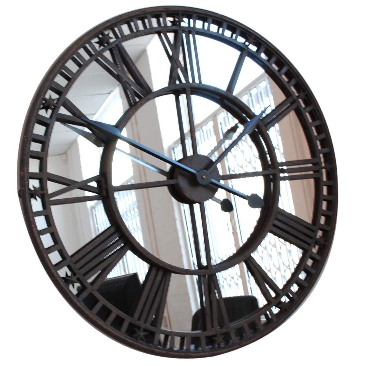 Extra Large Black Wall Clock With Mirror Design Idea Decofurnish With Extra Large Black Mirror (Image 7 of 15)