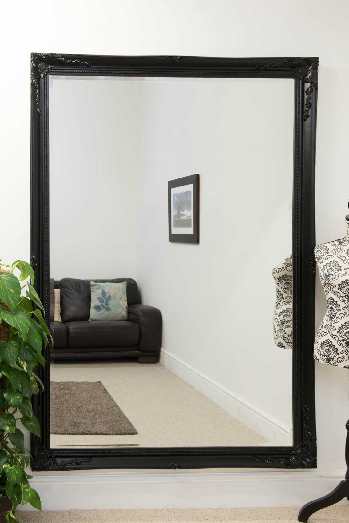 Extra Large Classic Ornate Styled Black Mirror 6ft7 X 4ft7 201cm Regarding Extra Large Black Mirror (View 6 of 15)