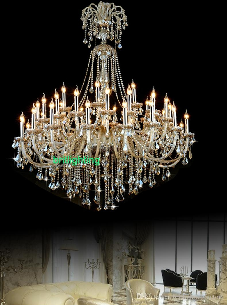 Extra Large Crystal Chandelier Lighting Entryway High Ceiling Throughout Vintage Chandeliers (Image 5 of 15)