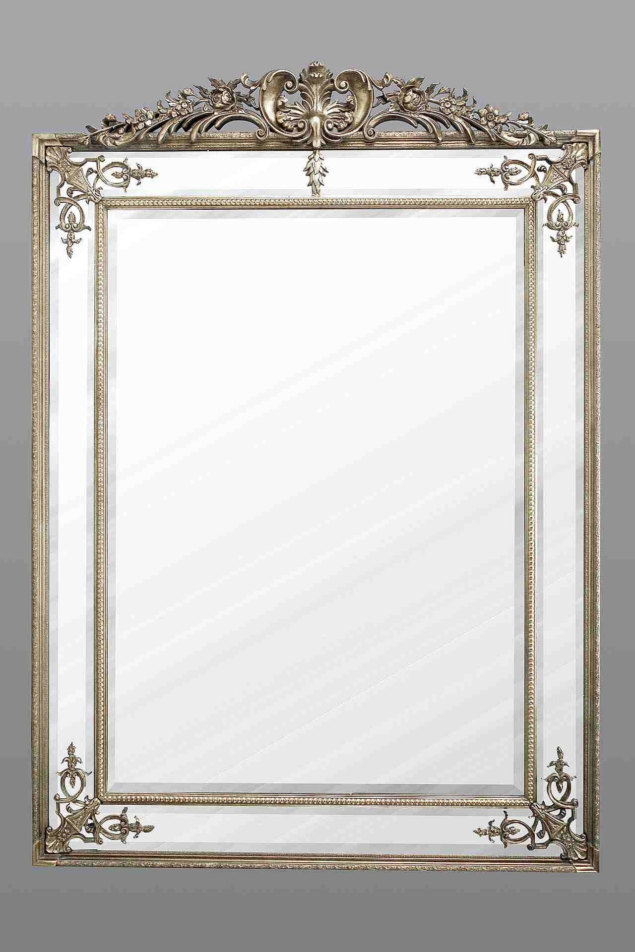 Extra Large French Mirror In Silver Regarding French Mirror (Image 10 of 15)