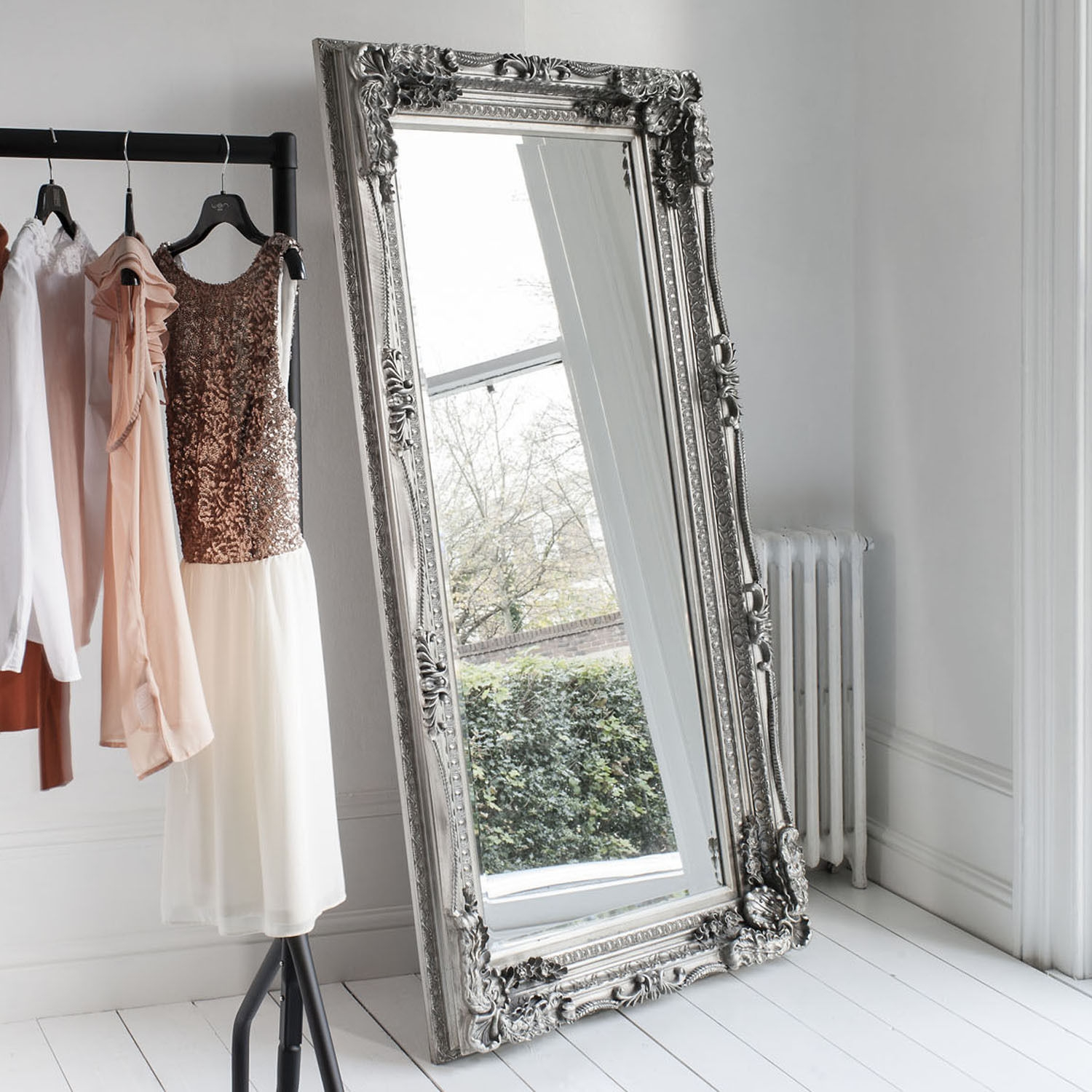 Extra Large Silver Antique French Shab Chic Wall Mirror Carved In Ornate Leaner Mirror (Image 3 of 15)