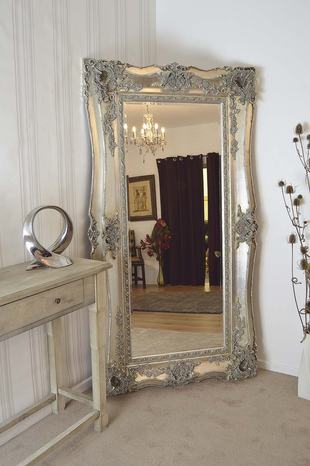 Extra Large Very Ornate Full Length Antique Silver Big Wall Mirror With Large Antique Silver Mirror (Photo 1 of 15)