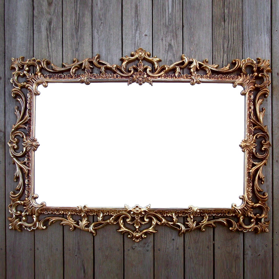 Extra Large Vintage Gold Syroco Mirror Ornate Rectangular Within Ornate Gold Mirror (View 6 of 15)